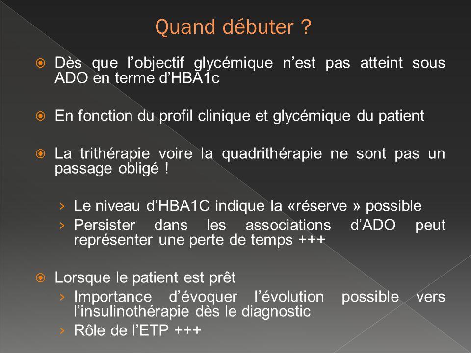 Dès que lobjectif glycémique nest pas atteint sous ADO en terme dHBA1c En fonction du profil clinique et glycémique du patient La trithérapie voire la