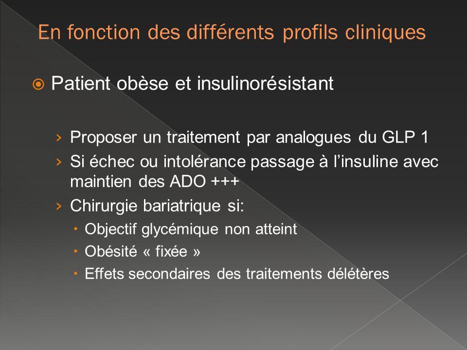 Patient obèse et insulinorésistant Proposer un traitement par analogues du GLP 1 Si échec ou intolérance passage à linsuline avec maintien des ADO +++