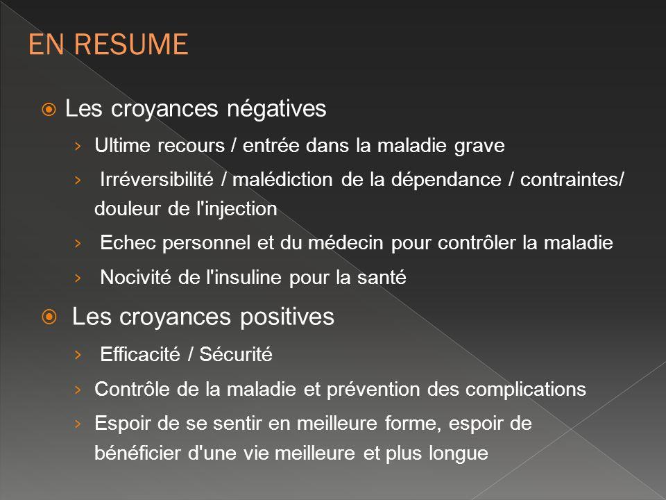 Les croyances négatives Ultime recours / entrée dans la maladie grave Irréversibilité / malédiction de la dépendance / contraintes/ douleur de l'injec
