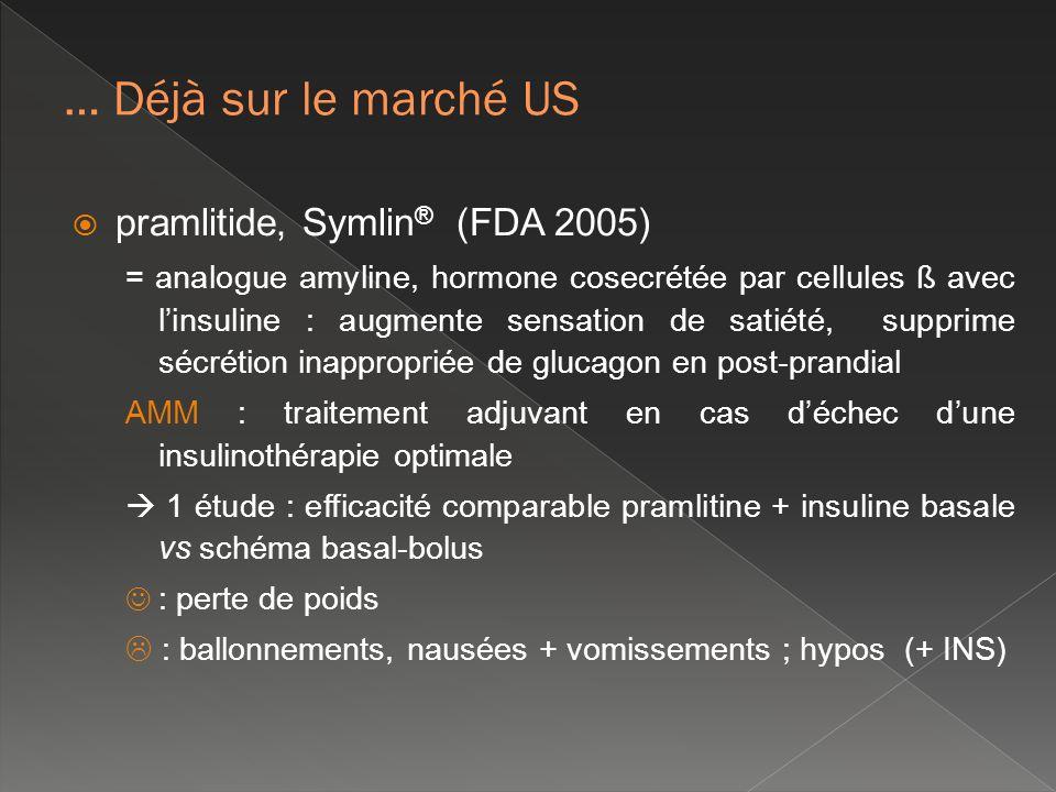 pramlitide, Symlin ® (FDA 2005) = analogue amyline, hormone cosecrétée par cellules ß avec linsuline : augmente sensation de satiété, supprime sécréti