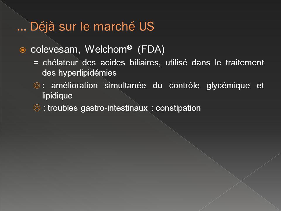 colevesam, Welchom ® (FDA) = chélateur des acides biliaires, utilisé dans le traitement des hyperlipidémies : amélioration simultanée du contrôle glyc