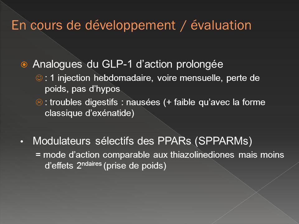 Analogues du GLP-1 daction prolongée : 1 injection hebdomadaire, voire mensuelle, perte de poids, pas dhypos : troubles digestifs : nausées (+ faible