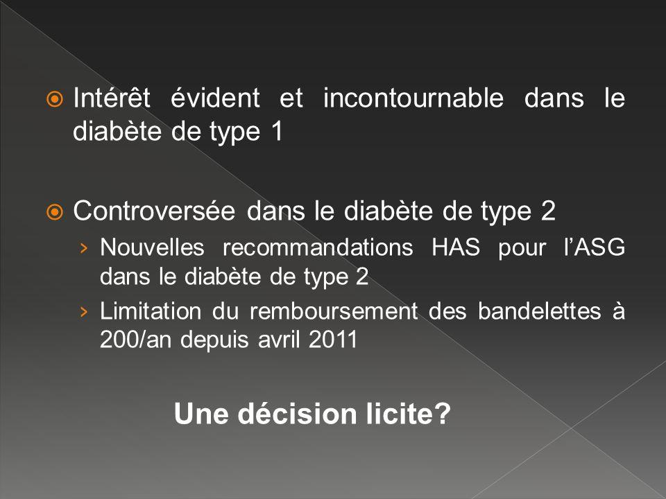 Intérêt évident et incontournable dans le diabète de type 1 Controversée dans le diabète de type 2 Nouvelles recommandations HAS pour lASG dans le dia