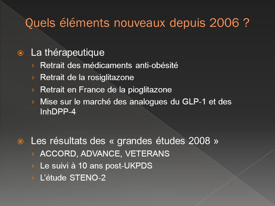 ACCORD + 10000 patients ; âge moyen 62,2 ans DT2 ancien (+ 10 ans dévolution) et compliqué (AVC = 35 %) Durée de suivi = 3,5 ans (arrêt de létude) ADVANCE + 11000 patients ; âge moyen 62,2 ans DT2 ancien (~ 8 ans dévolution) et compliqué (maladies CV = 32 %) Durée de suivi = 5 ans VADT ~ 1800 patients, vétérans de larmée US ; âge moyen 60,4 ans DT2 ancien (~ 11,5 ans dévolution), déséquilibré (HbA1C = 9,4 %) et compliqué (AVC = 40 %, neuropathie = 43 %, rétinopathie = 62 %) Durée de suivi = 6 ans