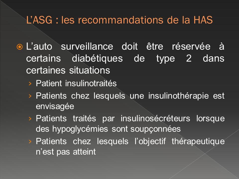 Lauto surveillance doit être réservée à certains diabétiques de type 2 dans certaines situations Patient insulinotraités Patients chez lesquels une in