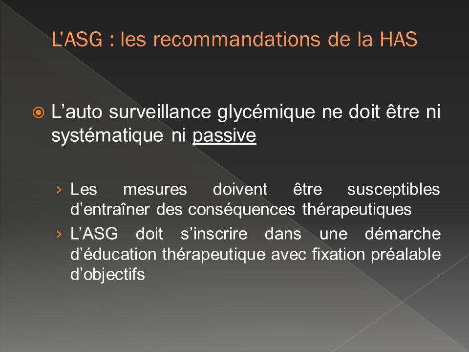 Lauto surveillance glycémique ne doit être ni systématique ni passive Les mesures doivent être susceptibles dentraîner des conséquences thérapeutiques