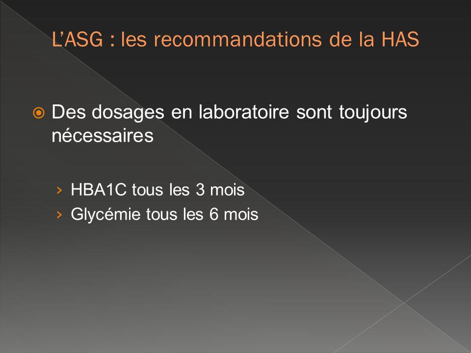 Des dosages en laboratoire sont toujours nécessaires HBA1C tous les 3 mois Glycémie tous les 6 mois LASG : les recommandations de la HAS