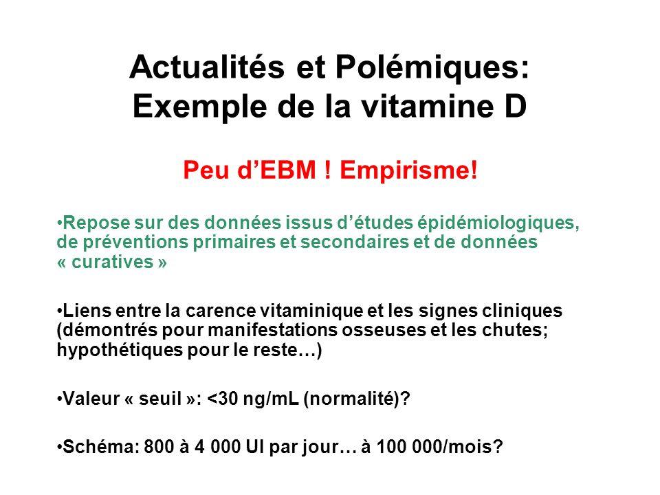 Actualités et Polémiques: Exemple de la vitamine D Peu dEBM .