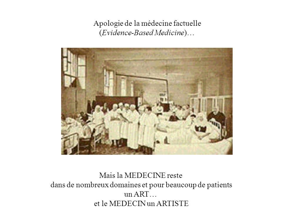 Apologie de la médecine factuelle (Evidence-Based Medicine)… Mais la MEDECINE reste dans de nombreux domaines et pour beaucoup de patients un ART… et le MEDECIN un ARTISTE