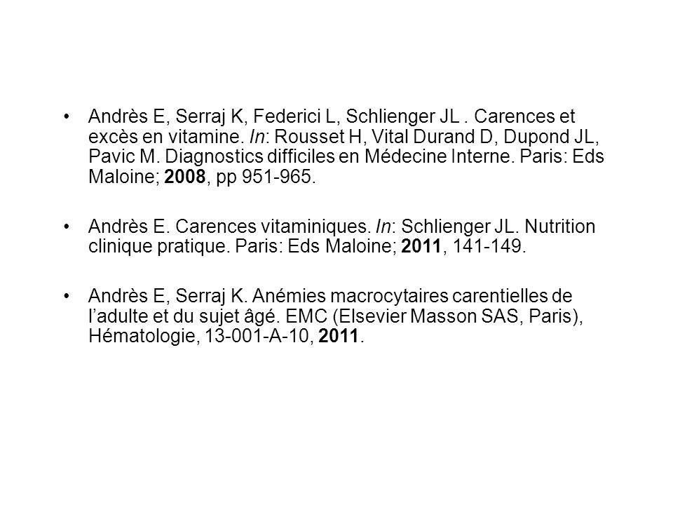 Andrès E, Serraj K, Federici L, Schlienger JL.Carences et excès en vitamine.