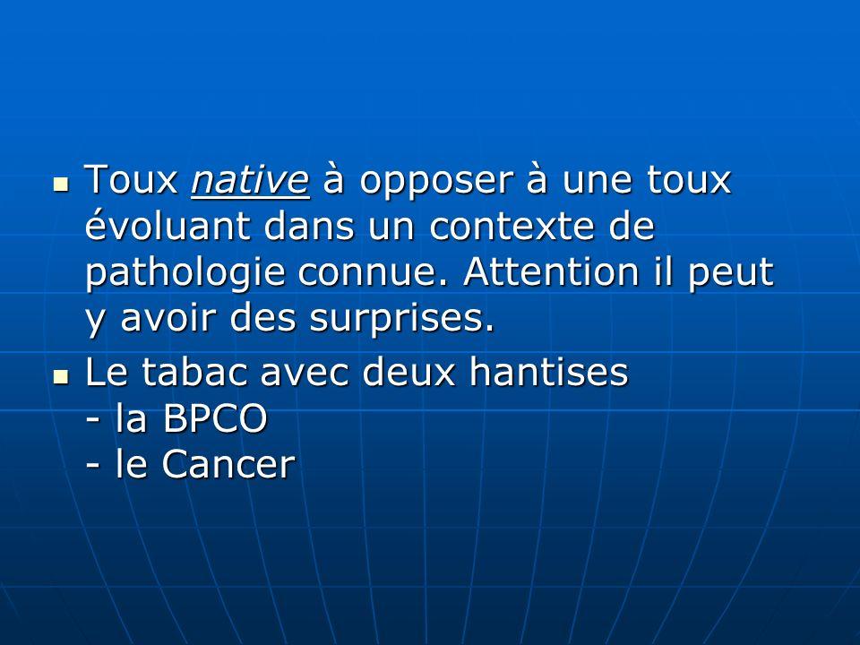 Quelques données chiffrées : - 15 à 20 millions de fumeurs en France -4 à 7 millions de tousseurs -2 à 4 de BPCO -28 000 nouveaux cancers / an Quelques données chiffrées : - 15 à 20 millions de fumeurs en France -4 à 7 millions de tousseurs -2 à 4 de BPCO -28 000 nouveaux cancers / an
