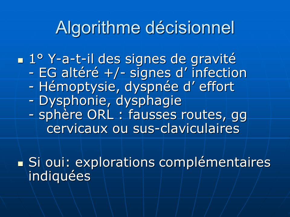 Algorithme décisionnel 1° Y-a-t-il des signes de gravité - EG altéré +/- signes d infection - Hémoptysie, dyspnée d effort - Dysphonie, dysphagie - sp
