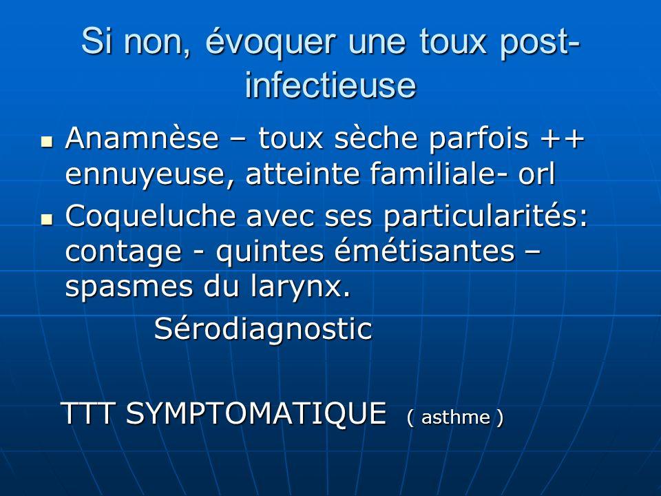 FAIRE UNE RADIO F + P Il y a des anomalies localisées -cancers -infections:tuberculose – aspergillose -médiastin : gg ( BBS ) tumeurs -broncho-parenchymateuses: DDB - bulles -pleurales : épanchements – masses ou épaississements ( douleurs ) Il y a des anomalies localisées -cancers -infections:tuberculose – aspergillose -médiastin : gg ( BBS ) tumeurs -broncho-parenchymateuses: DDB - bulles -pleurales : épanchements – masses ou épaississements ( douleurs ) SCANNER ( si néo: cérébral et surrénales ) SCANNER ( si néo: cérébral et surrénales )