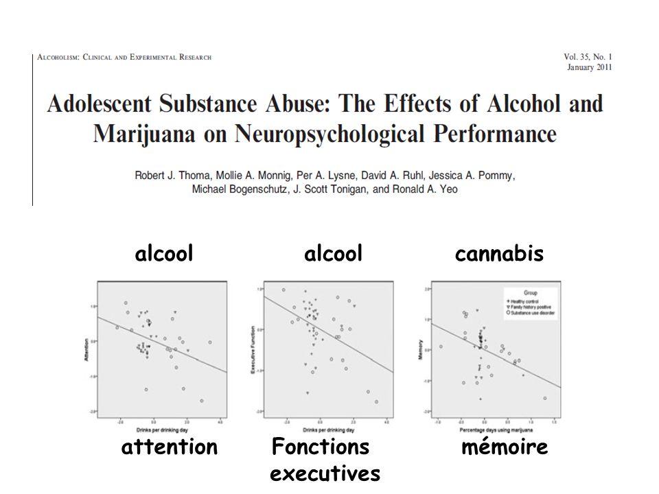 alcool cannabis attentionFonctions executives mémoire