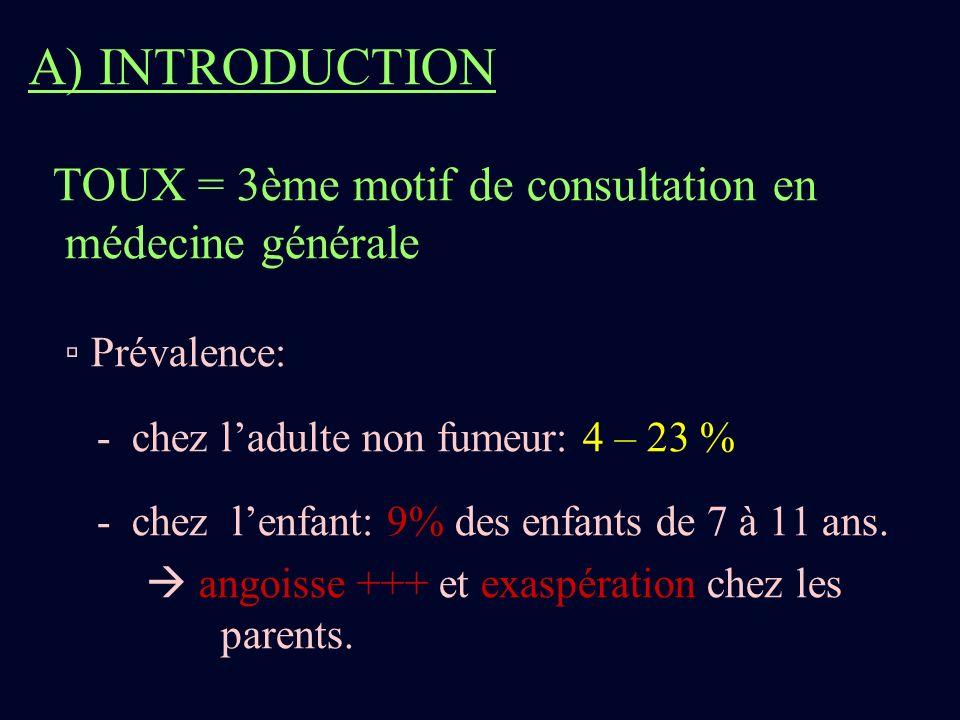 A) INTRODUCTION TOUX = 3ème motif de consultation en médecine générale Prévalence: - chez ladulte non fumeur: 4 – 23 % - chez lenfant: 9% des enfants