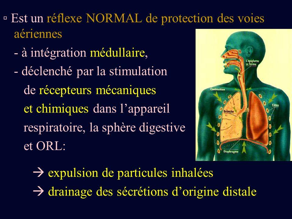 Est un réflexe NORMAL de protection des voies aériennes - à intégration médullaire, - déclenché par la stimulation de récepteurs mécaniques et chimiqu