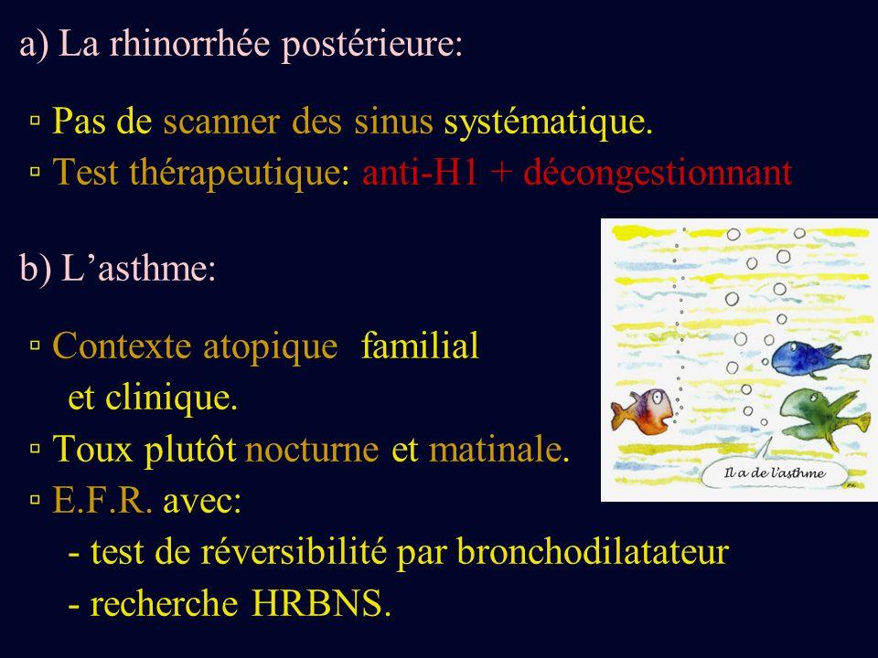 a) La rhinorrhée postérieure: Pas de scanner des sinus systématique. Test thérapeutique: anti-H1 + décongestionnant b) Lasthme: Contexte atopique fami