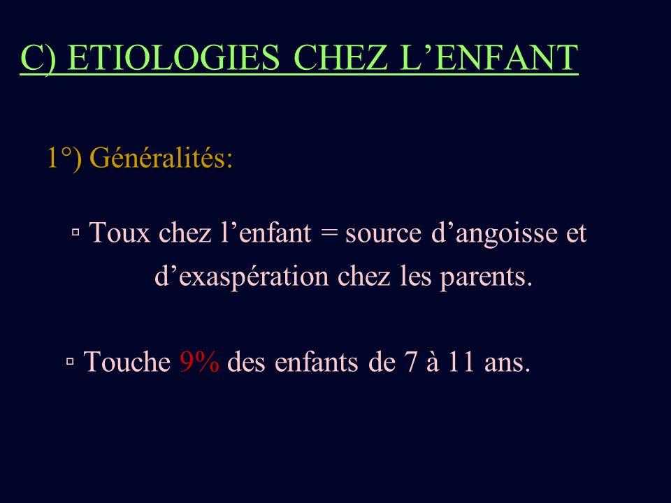 C) ETIOLOGIES CHEZ LENFANT 1°) Généralités: Toux chez lenfant = source dangoisse et dexaspération chez les parents. Touche 9% des enfants de 7 à 11 an