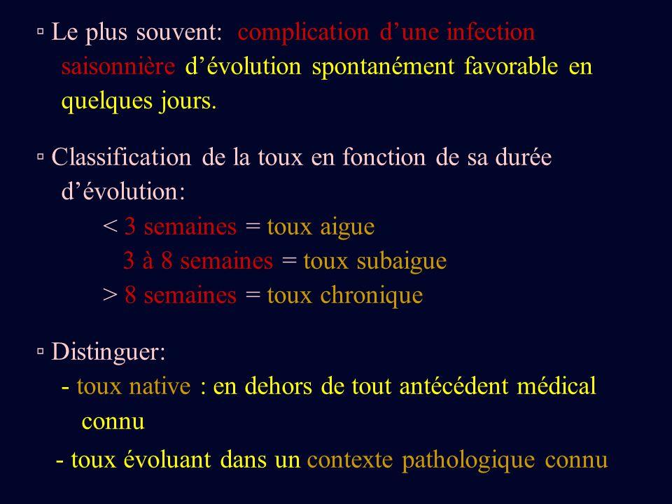 c) La toux post-infectieuse: Fréquente après infection par: - mycoplasme - chlamydia - bordetella pertussis Efficacité des corticoides inhalés.