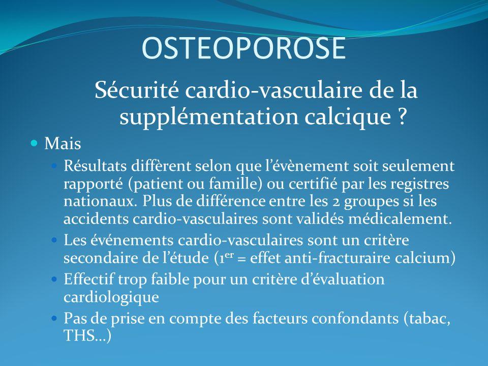 OSTEOPOROSE Sécurité cardio-vasculaire de la supplémentation calcique ? Mais Résultats diffèrent selon que lévènement soit seulement rapporté (patient