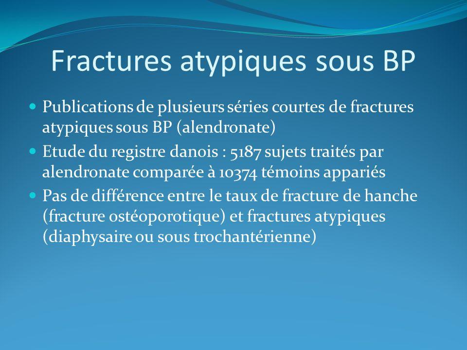 Fractures atypiques sous BP Publications de plusieurs séries courtes de fractures atypiques sous BP (alendronate) Etude du registre danois : 5187 suje