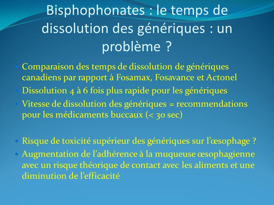 Bisphophonates : le temps de dissolution des génériques : un problème ? Comparaison des temps de dissolution de génériques canadiens par rapport à Fos