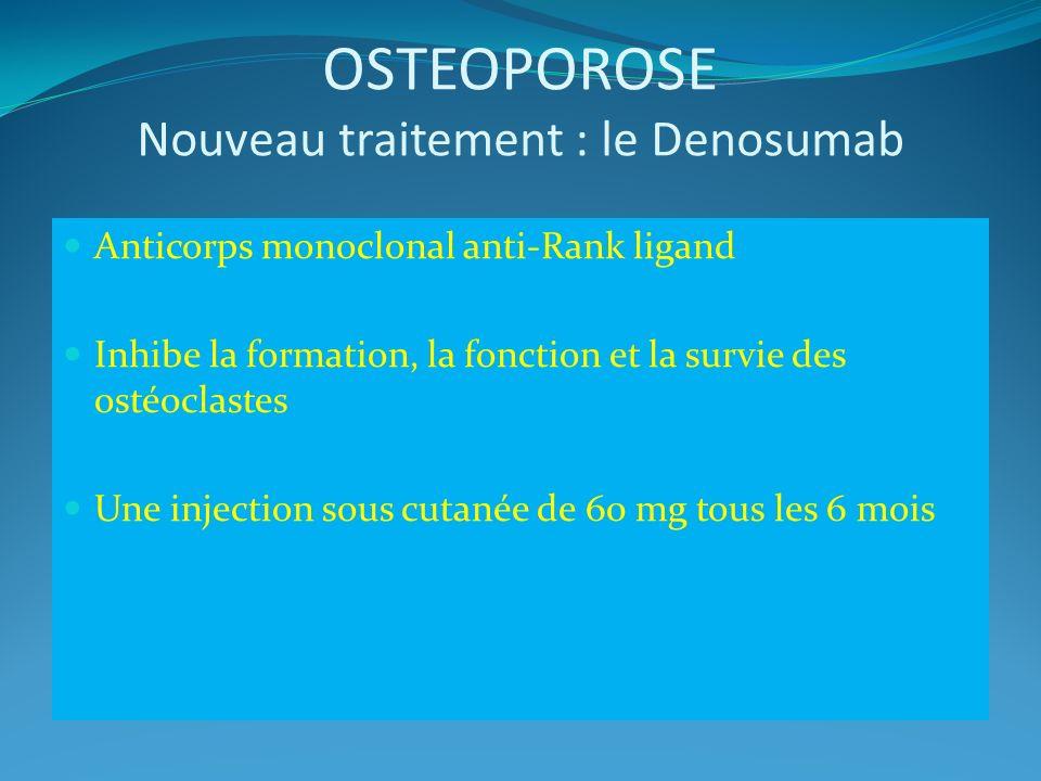 OSTEOPOROSE Nouveau traitement : le Denosumab Anticorps monoclonal anti-Rank ligand Inhibe la formation, la fonction et la survie des ostéoclastes Une