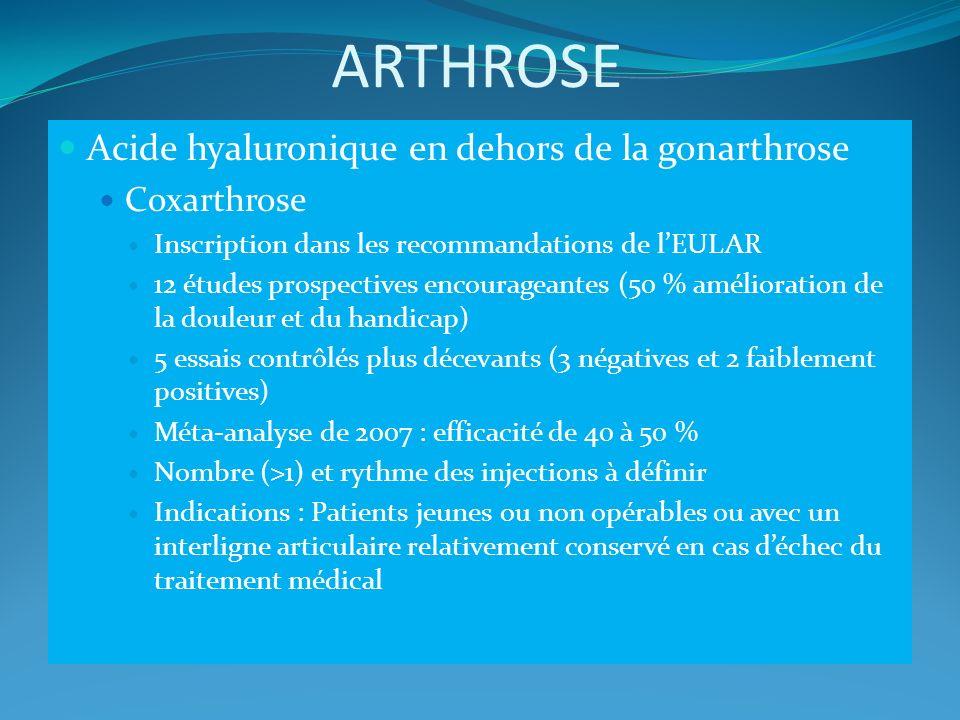 ARTHROSE Acide hyaluronique en dehors de la gonarthrose Coxarthrose Inscription dans les recommandations de lEULAR 12 études prospectives encourageant