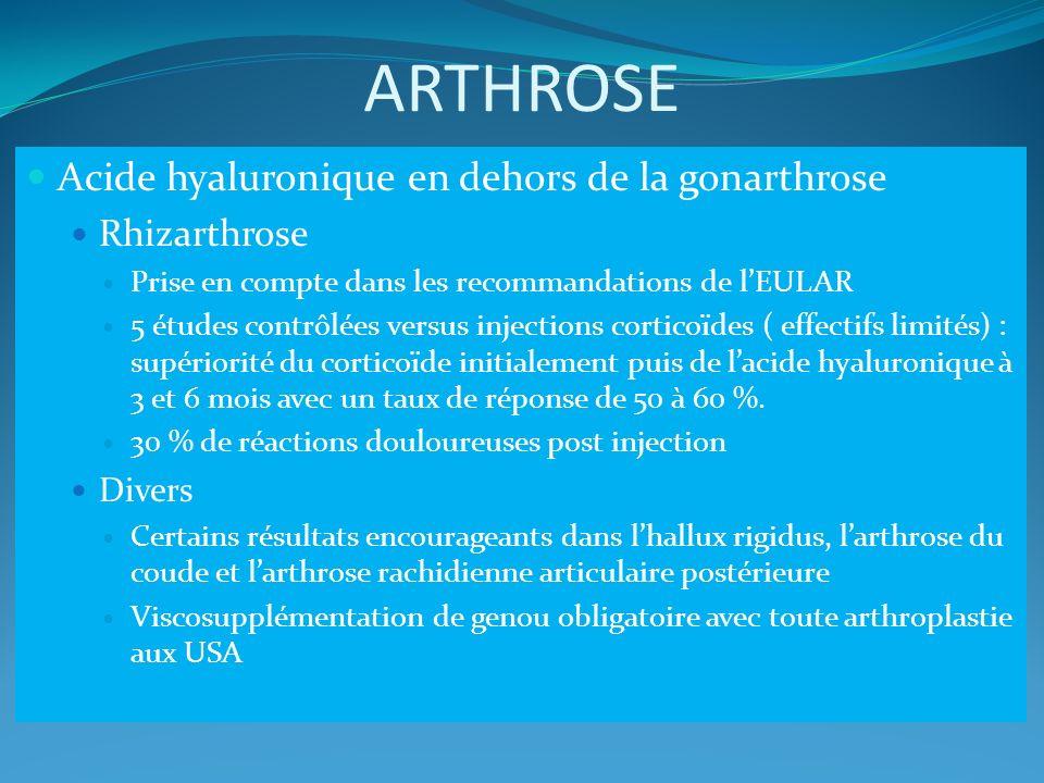 ARTHROSE Acide hyaluronique en dehors de la gonarthrose Rhizarthrose Prise en compte dans les recommandations de lEULAR 5 études contrôlées versus inj