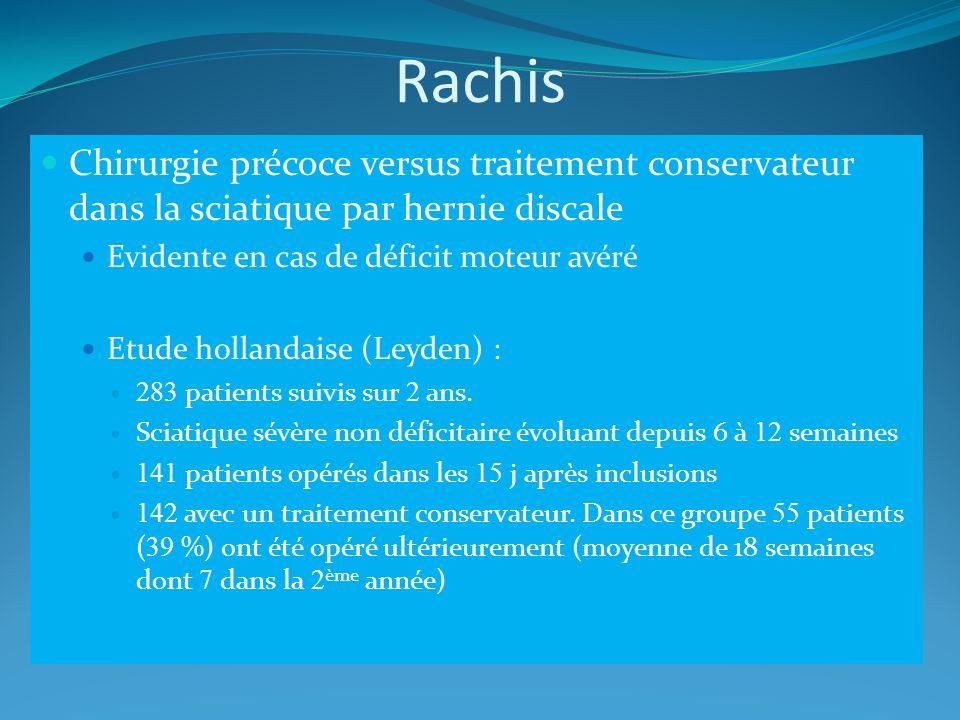 Rachis Chirurgie précoce versus traitement conservateur dans la sciatique par hernie discale Evidente en cas de déficit moteur avéré Etude hollandaise