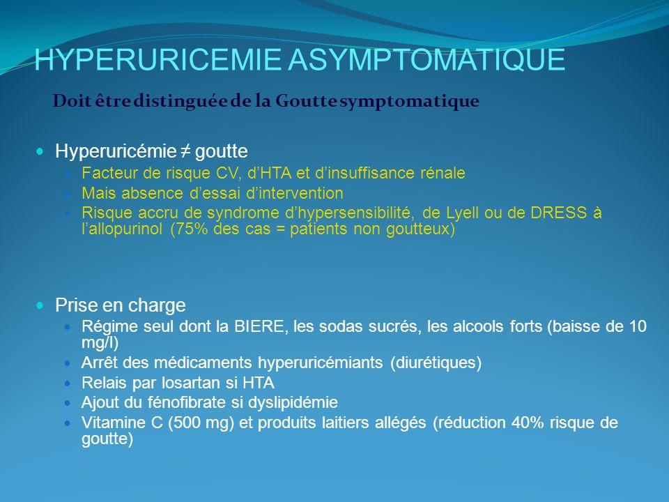 HYPERURICEMIE ASYMPTOMATIQUE Hyperuricémie goutte Facteur de risque CV, dHTA et dinsuffisance rénale Mais absence dessai dintervention Risque accru de