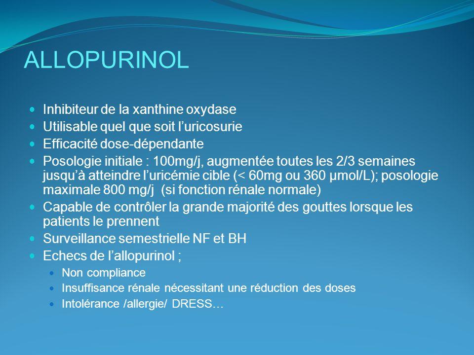 ALLOPURINOL Inhibiteur de la xanthine oxydase Utilisable quel que soit luricosurie Efficacité dose-dépendante Posologie initiale : 100mg/j, augmentée