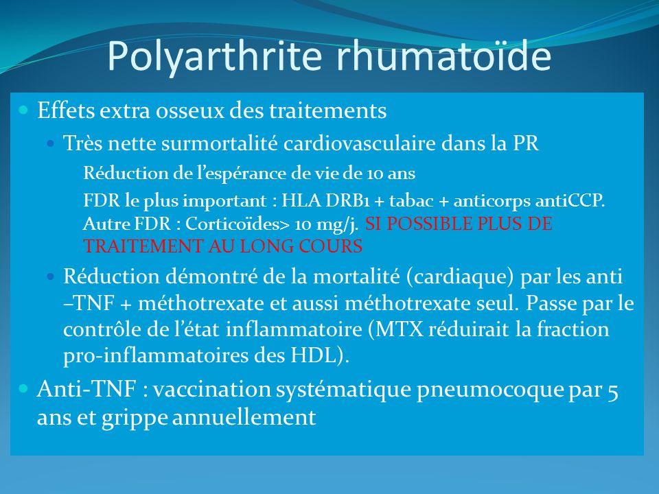 Polyarthrite rhumatoïde Effets extra osseux des traitements Très nette surmortalité cardiovasculaire dans la PR Réduction de lespérance de vie de 10 a