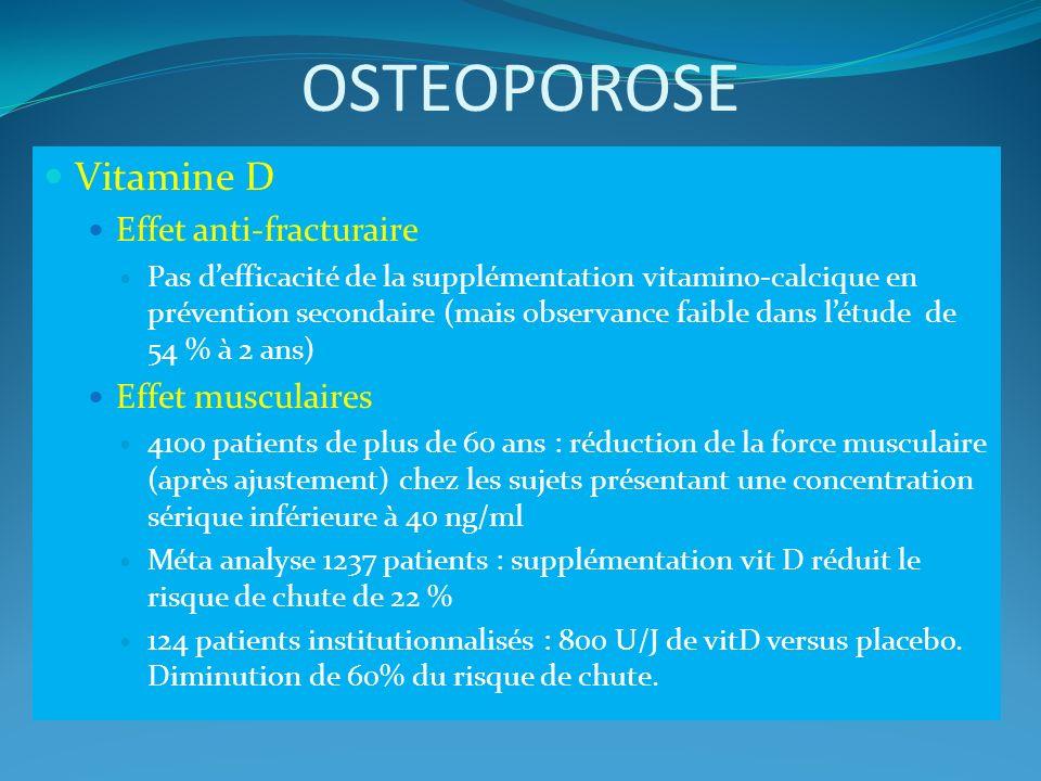 OSTEOPOROSE Vitamine D Effet anti-fracturaire Pas defficacité de la supplémentation vitamino-calcique en prévention secondaire (mais observance faible