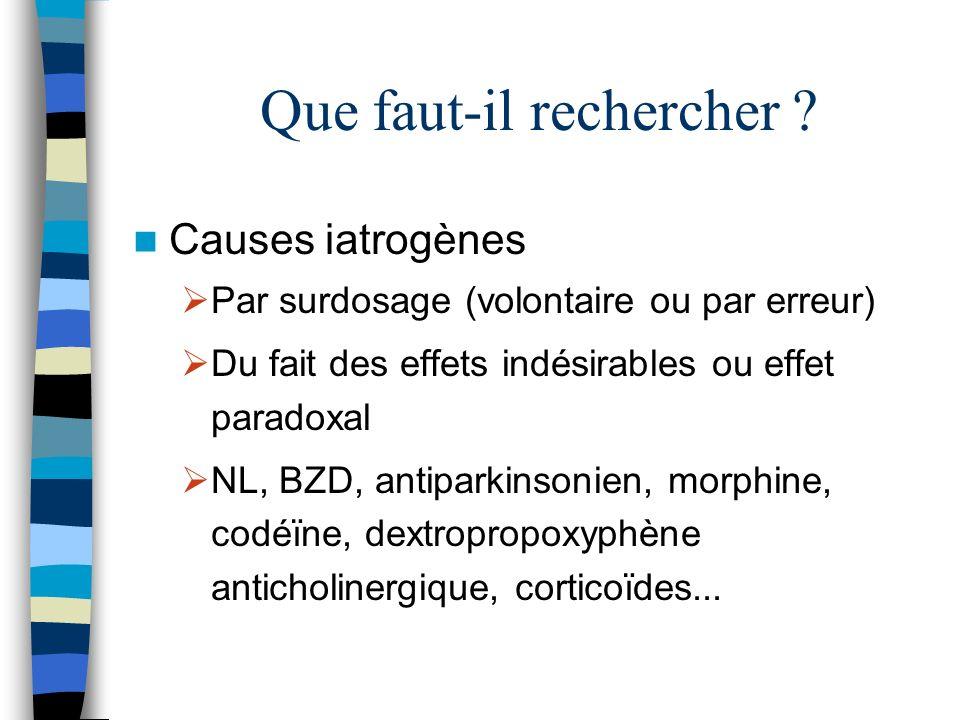 Que faut-il rechercher ? Causes iatrogènes Par surdosage (volontaire ou par erreur) Du fait des effets indésirables ou effet paradoxal NL, BZD, antipa