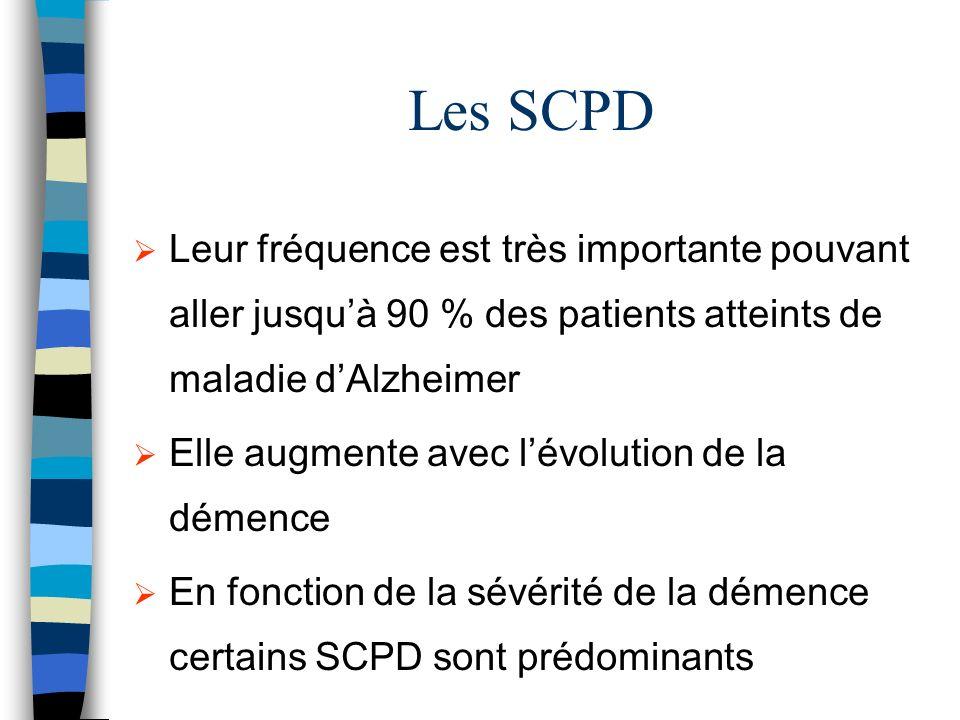 Les SCPD Leur fréquence est très importante pouvant aller jusquà 90 % des patients atteints de maladie dAlzheimer Elle augmente avec lévolution de la démence En fonction de la sévérité de la démence certains SCPD sont prédominants