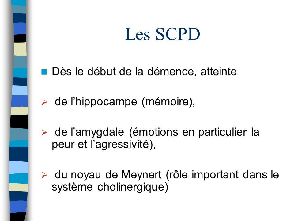 Les SCPD Dès le début de la démence, atteinte de lhippocampe (mémoire), de lamygdale (émotions en particulier la peur et lagressivité), du noyau de Meynert (rôle important dans le système cholinergique)