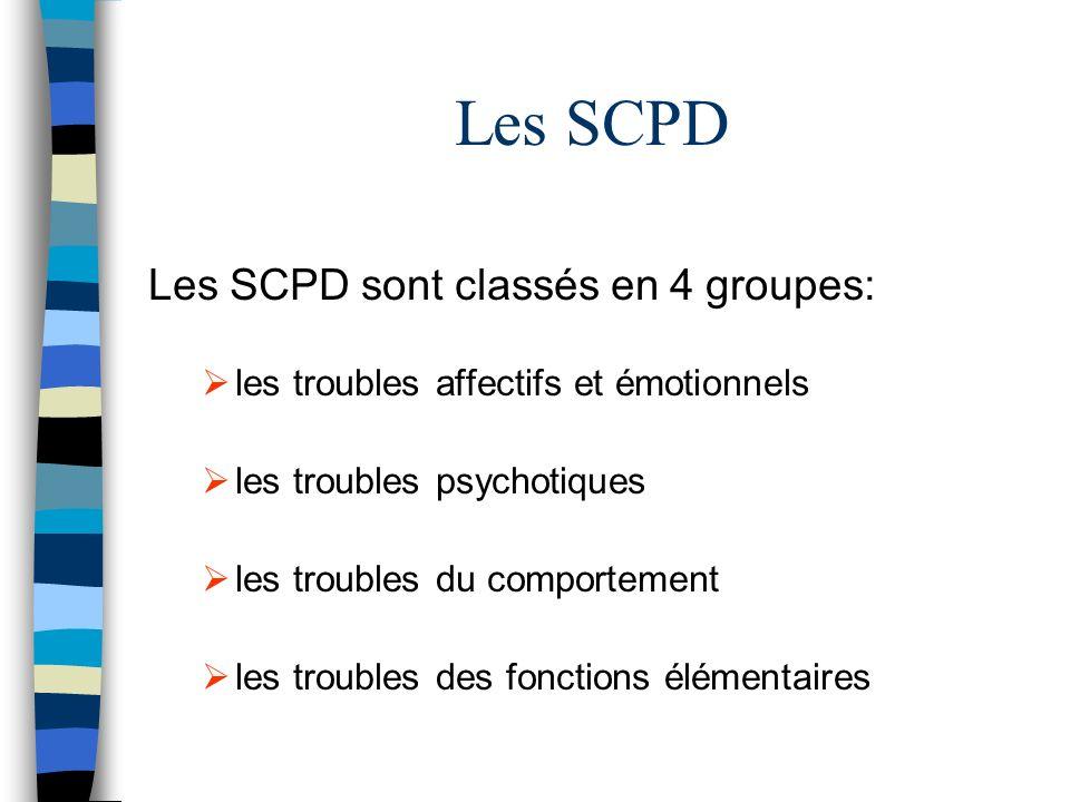 Les SCPD Les SCPD sont classés en 4 groupes: les troubles affectifs et émotionnels les troubles psychotiques les troubles du comportement les troubles des fonctions élémentaires