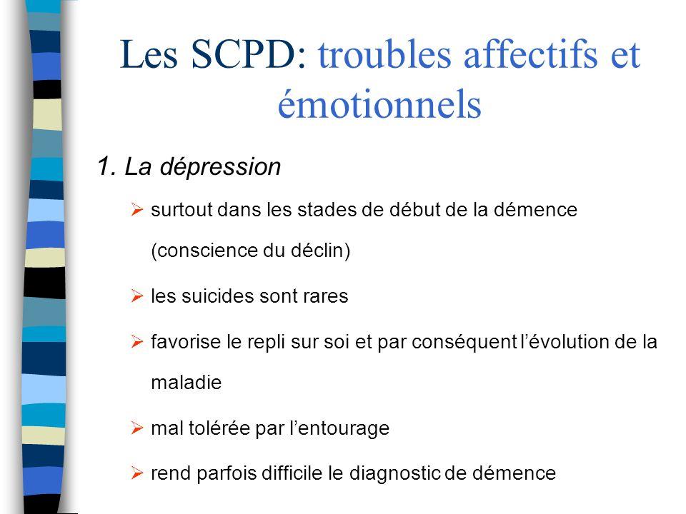 Les SCPD: troubles affectifs et émotionnels 1. La dépression surtout dans les stades de début de la démence (conscience du déclin) les suicides sont r