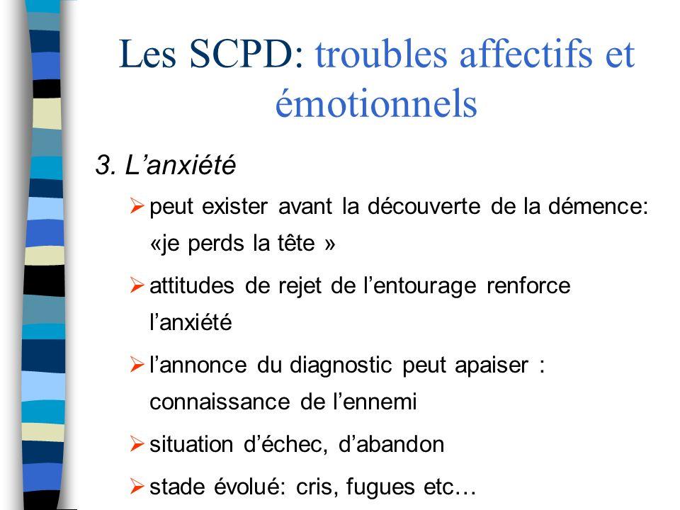 Les SCPD: troubles affectifs et émotionnels 3. Lanxiété peut exister avant la découverte de la démence: «je perds la tête » attitudes de rejet de lent