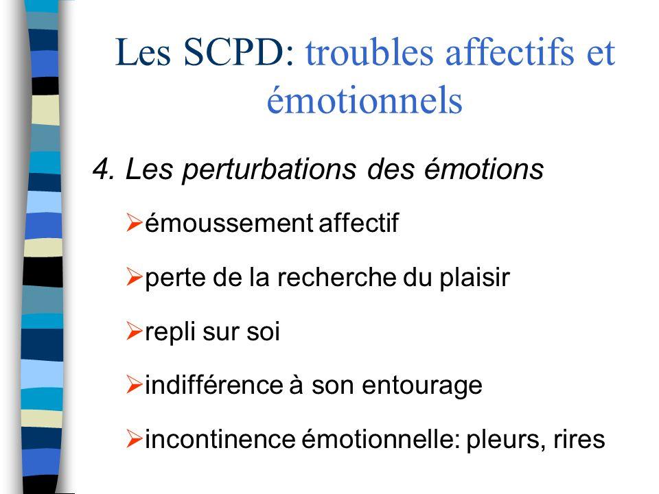 Les SCPD: troubles affectifs et émotionnels 4. Les perturbations des émotions émoussement affectif perte de la recherche du plaisir repli sur soi indi