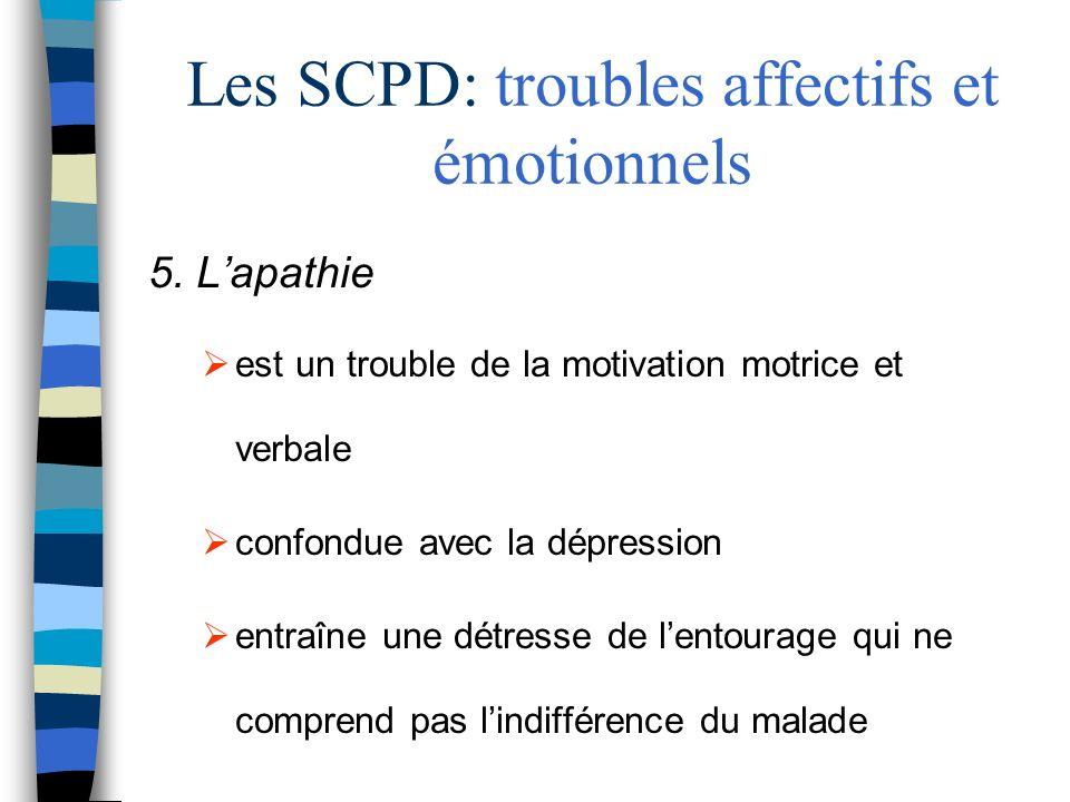Les SCPD: troubles affectifs et émotionnels 5. Lapathie est un trouble de la motivation motrice et verbale confondue avec la dépression entraîne une d