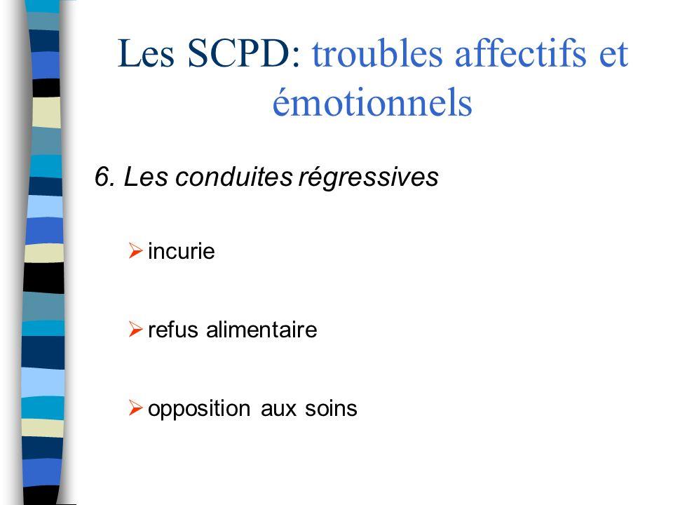 Les SCPD: troubles affectifs et émotionnels 6. Les conduites régressives incurie refus alimentaire opposition aux soins