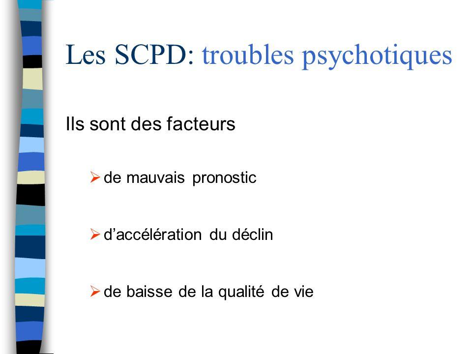 Les SCPD: troubles psychotiques Ils sont des facteurs de mauvais pronostic daccélération du déclin de baisse de la qualité de vie