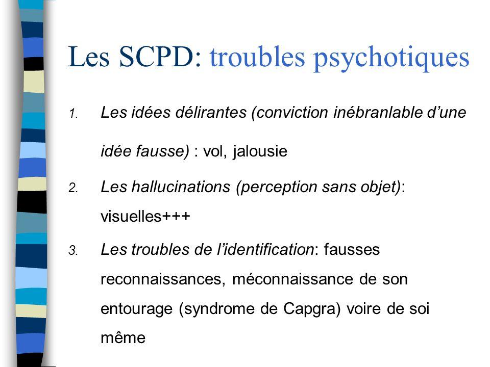 Les SCPD: troubles psychotiques 1. Les idées délirantes (conviction inébranlable dune idée fausse) : vol, jalousie 2. Les hallucinations (perception s