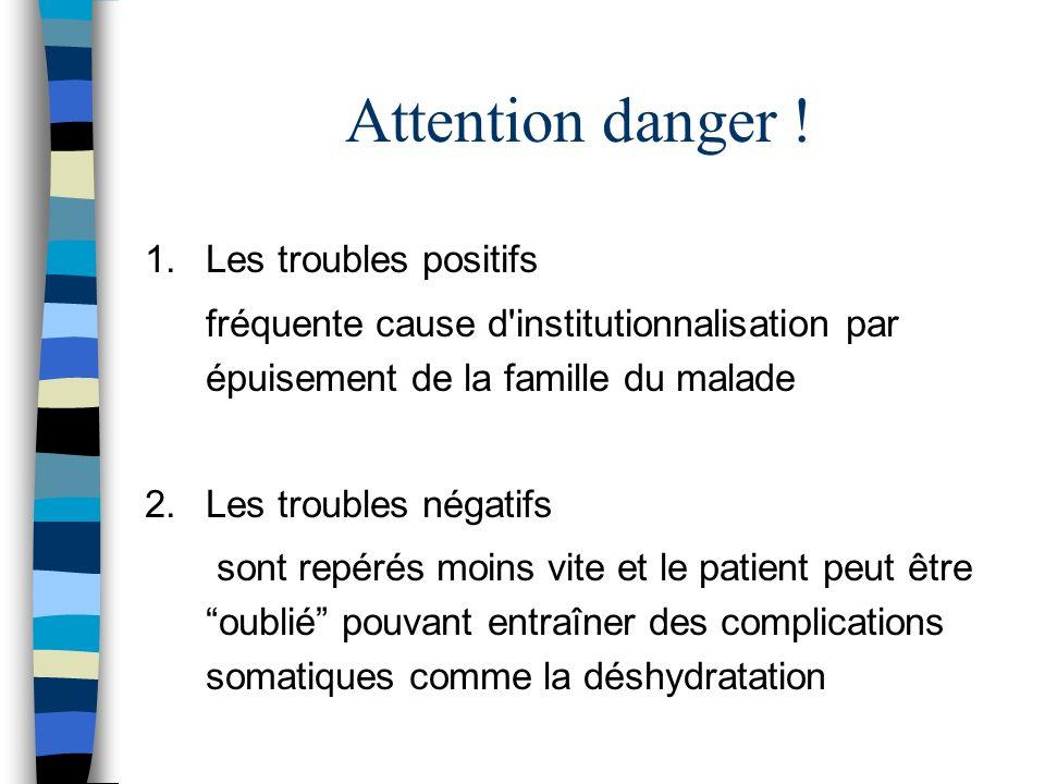 Attention danger ! 1.Les troubles positifs fréquente cause d'institutionnalisation par épuisement de la famille du malade 2.Les troubles négatifs sont