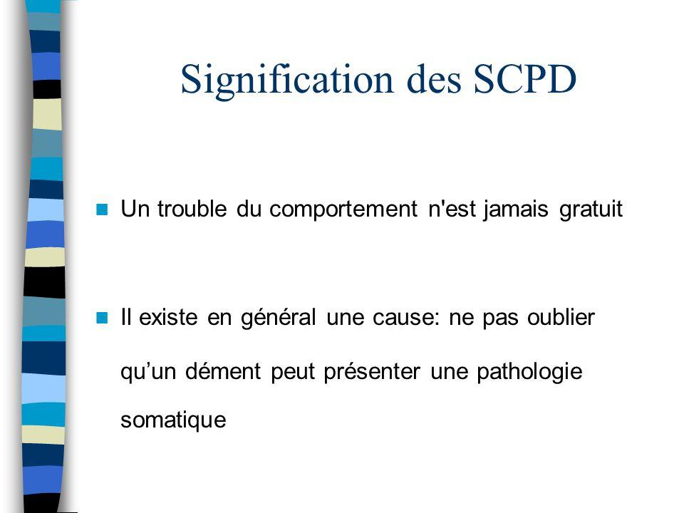 Signification des SCPD Un trouble du comportement n est jamais gratuit Il existe en général une cause: ne pas oublier quun dément peut présenter une pathologie somatique