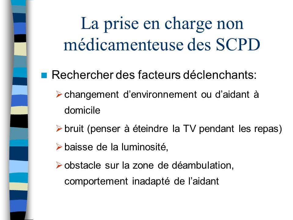 La prise en charge non médicamenteuse des SCPD Rechercher des facteurs déclenchants: changement denvironnement ou daidant à domicile bruit (penser à é