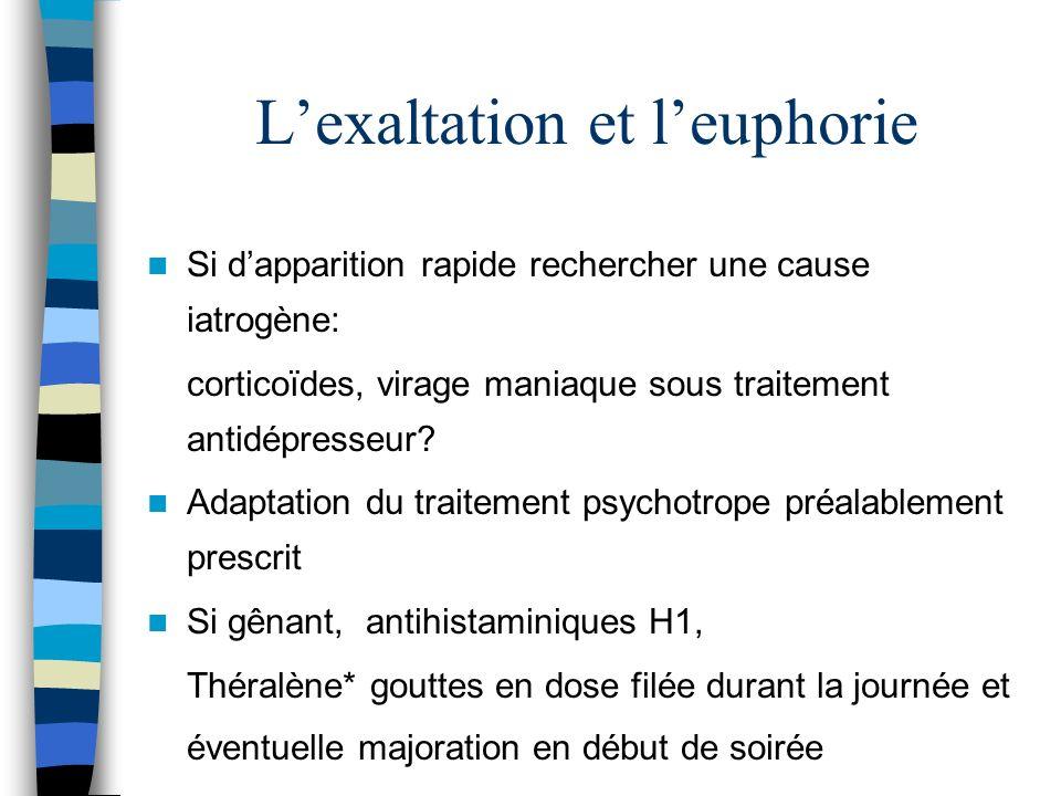 Lexaltation et leuphorie Si dapparition rapide rechercher une cause iatrogène: corticoïdes, virage maniaque sous traitement antidépresseur? Adaptation