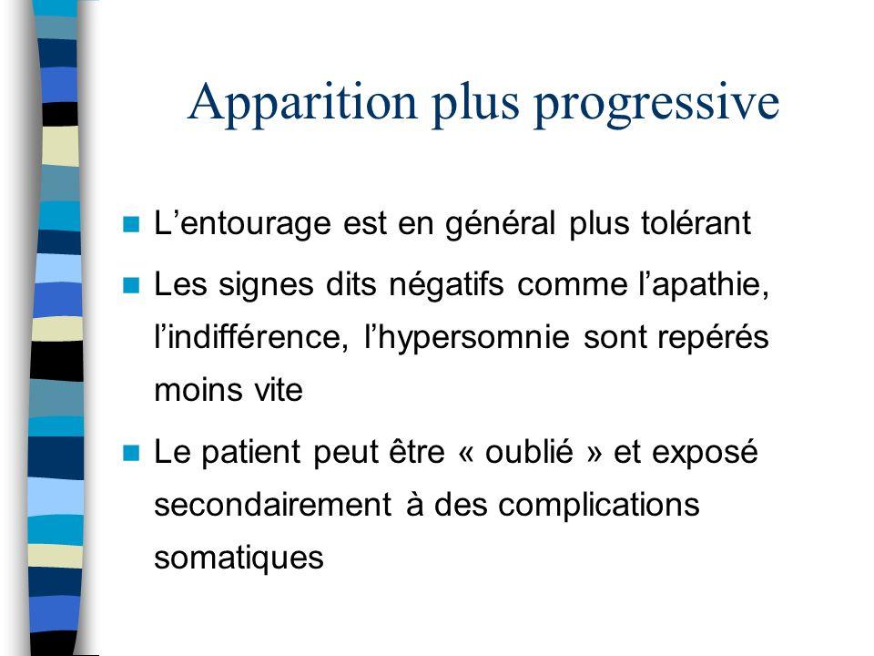 Apparition plus progressive Lentourage est en général plus tolérant Les signes dits négatifs comme lapathie, lindifférence, lhypersomnie sont repérés